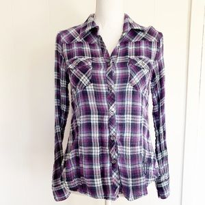 Harley Davidson plaid button embroidered top M